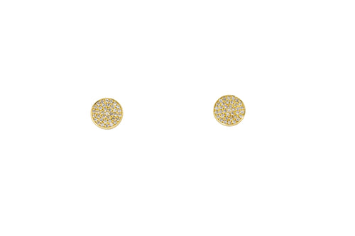 Yellow Gold Round Pave Earrings