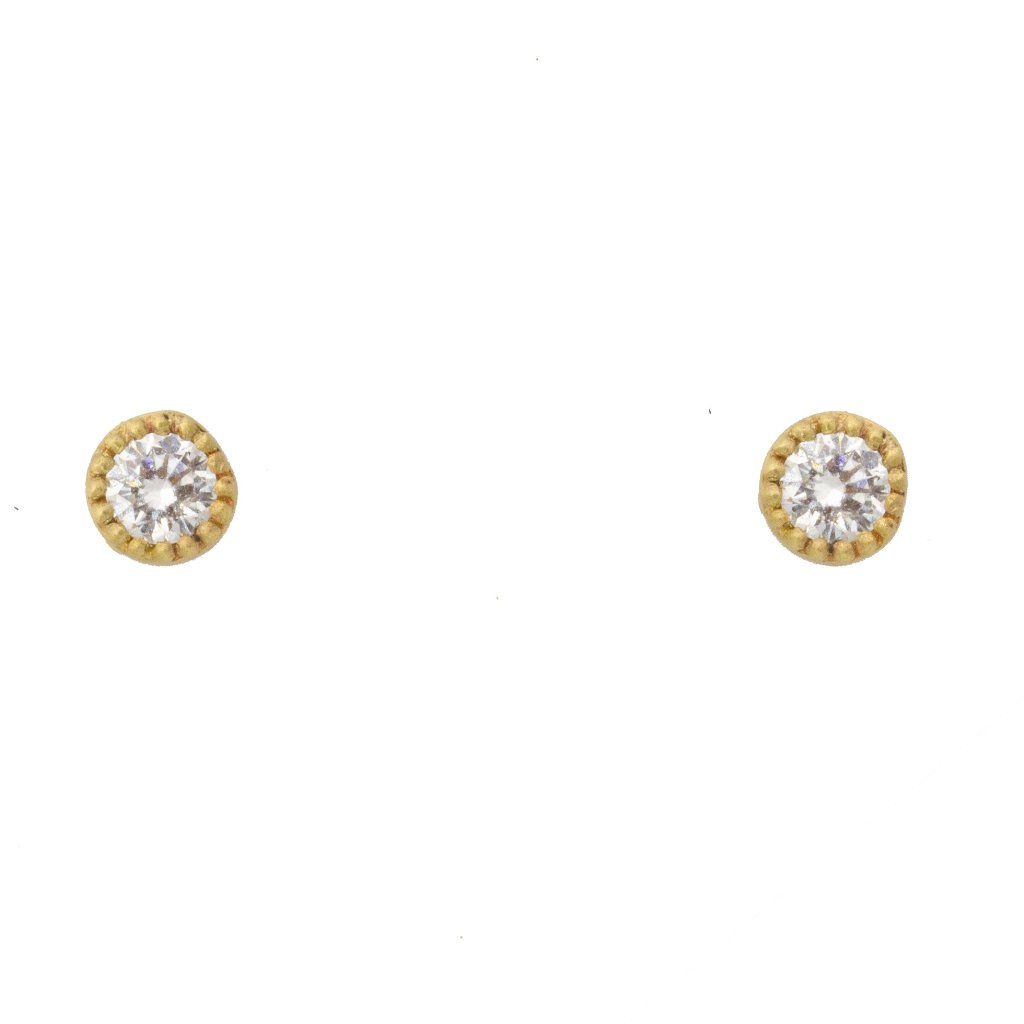 diamond earring bezel set 14k yellow gold