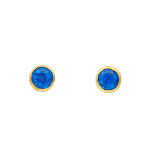 14k yellow gold bezel set appetite earrings