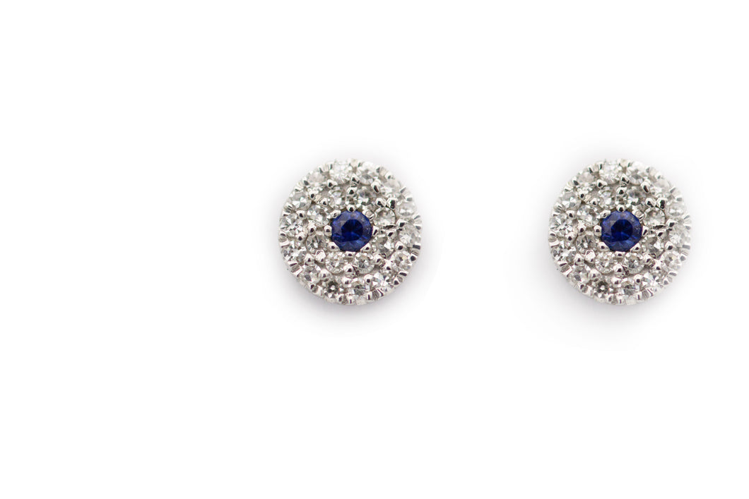 Sapphire Coral White Gold Earrings