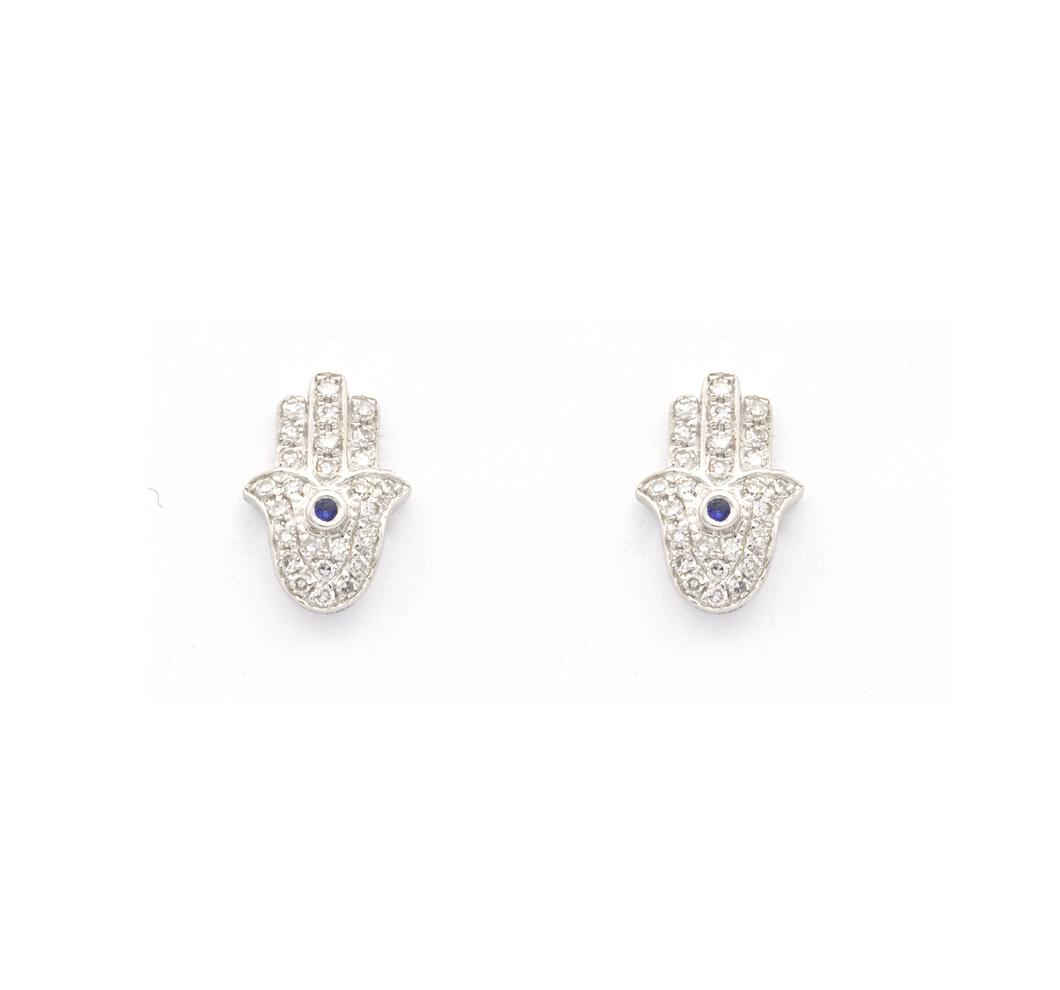 White Gold Hamsa Diamond and Sapphire Earrings