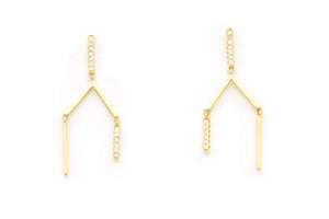 Wish Bone Diamond Earrings