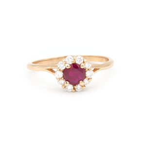 Ruby and diamond engagement ring 14k yellow gold