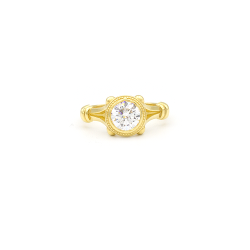 Engagement Ring Arch Of Rome 18k yellow gold with 1.20 ct diamond in the center