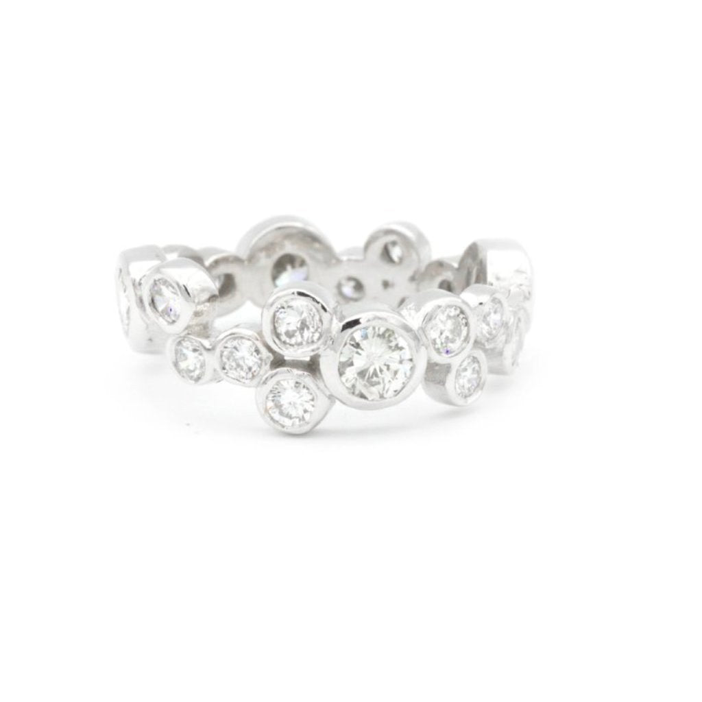 Eternity band Bubble Diamond 14k white gold