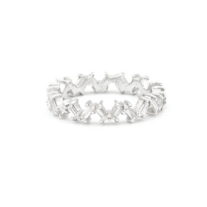 Diamond Eternity Band 14k white gold baguette cut
