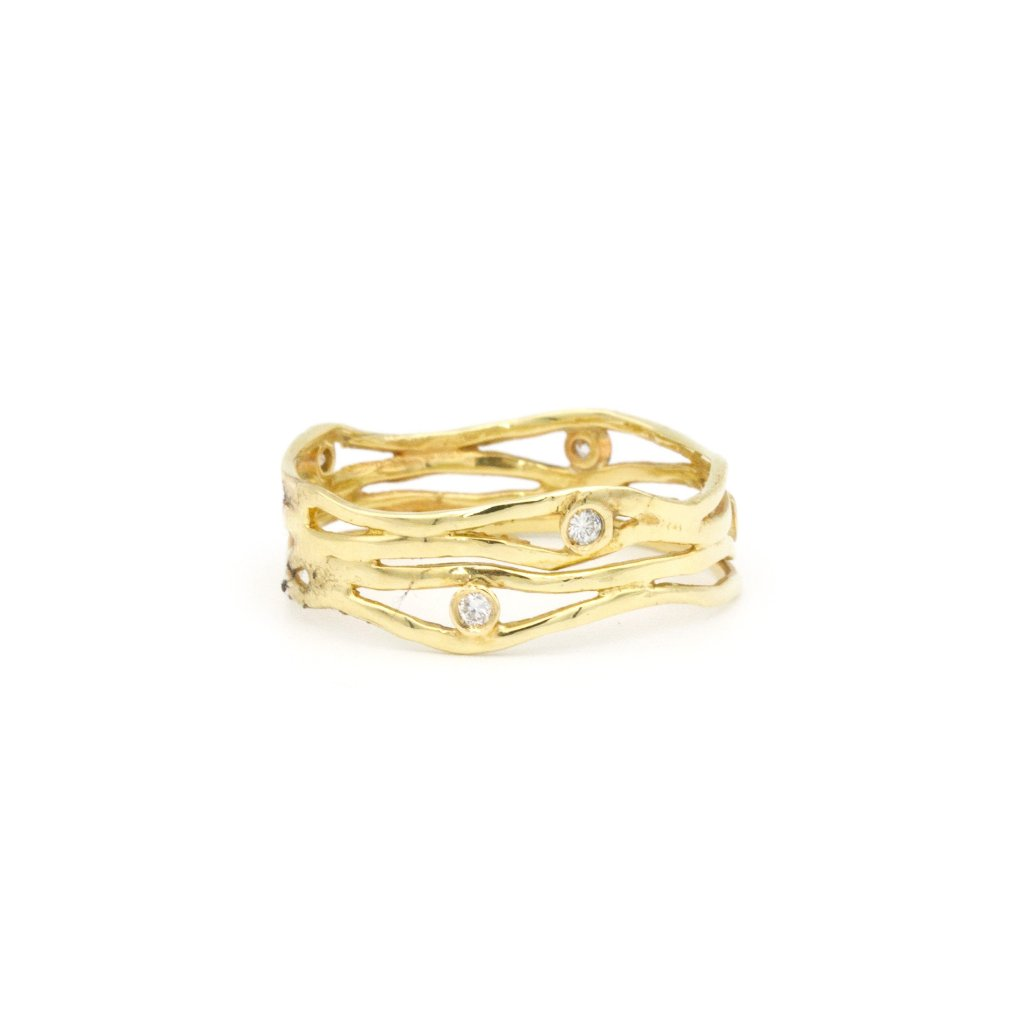 14k yellow gold wave band with diamonds