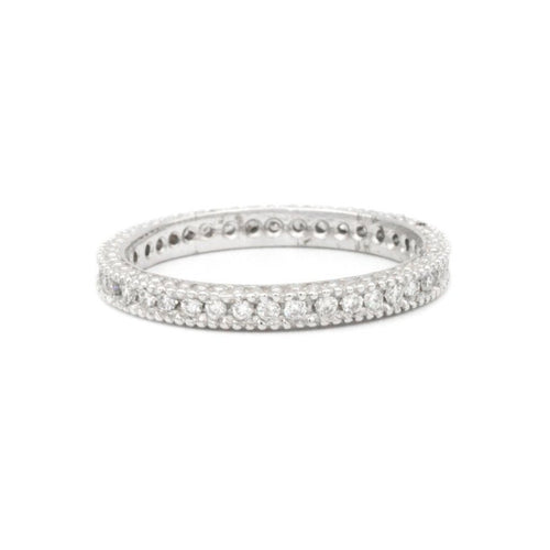 diamond eternity band 14k white gold miligrain