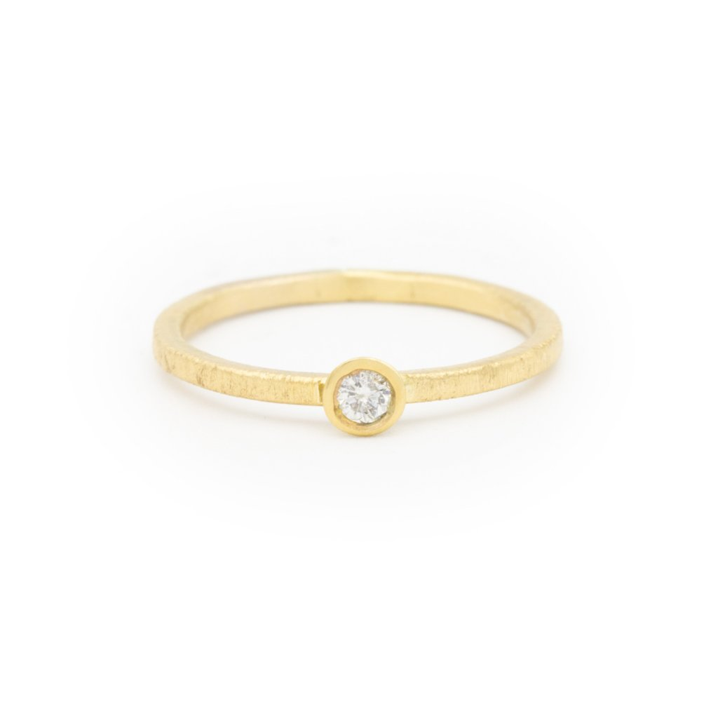 Thin Yellow Gold Diamond Ring