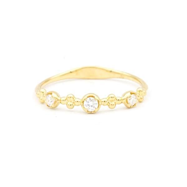 Diamond and Flower Bead Ring 14k yellow gold