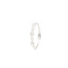 White Gold Diamond Flower Bead Ring