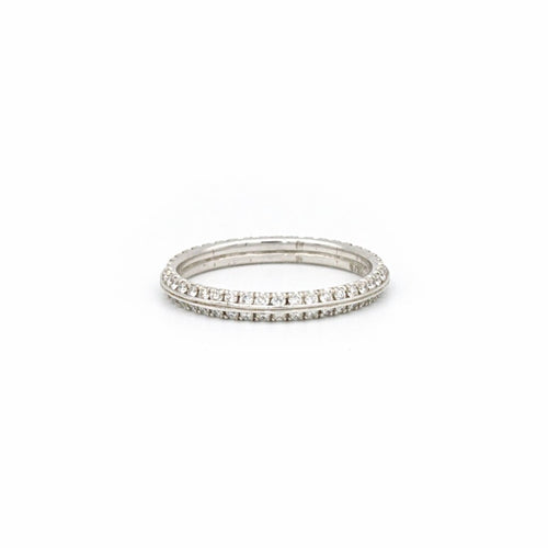 knife edge double eternity band 14k white gold