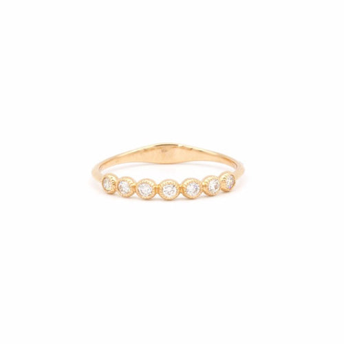 Yellow Gold Round Diamond Half Eternity Band