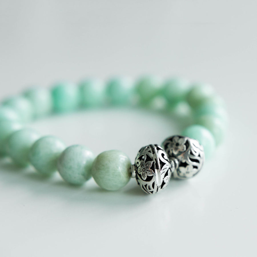 amazonite healing gemstones bracelet side view