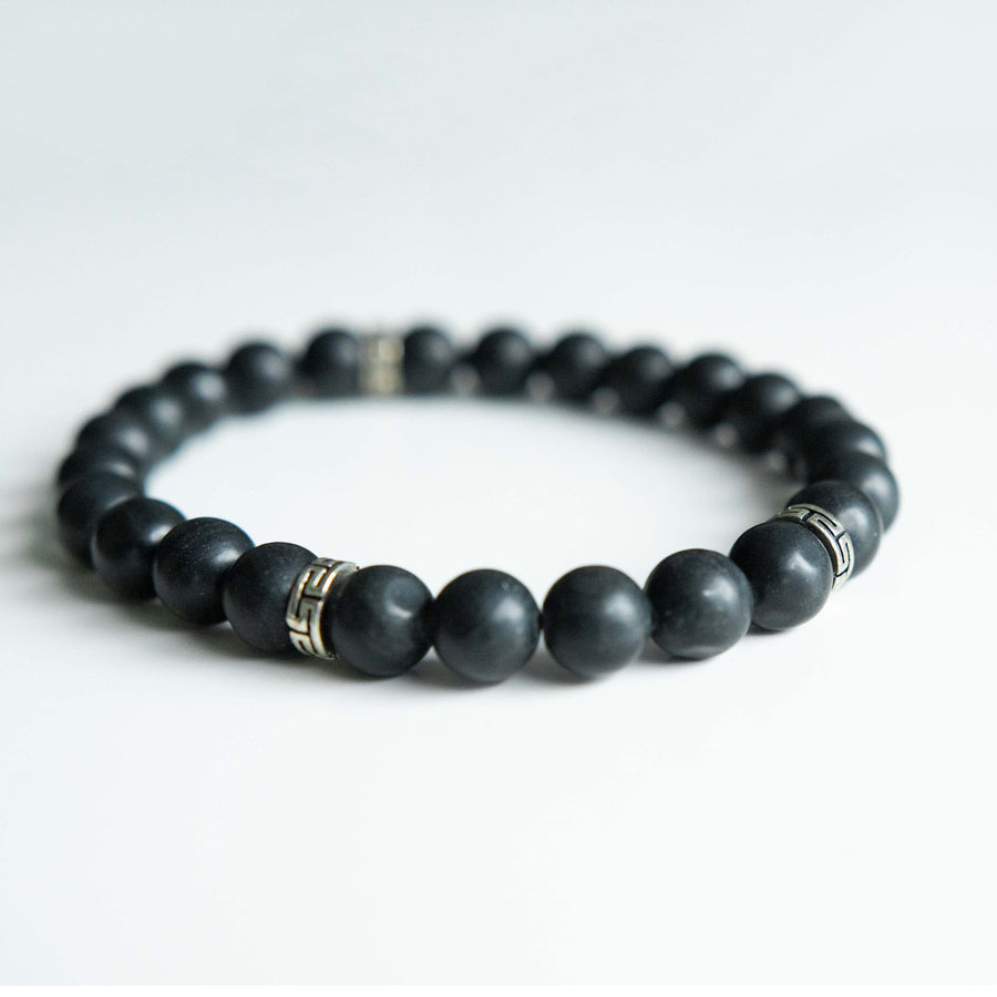 black jasper healing gemstone bracelet side view