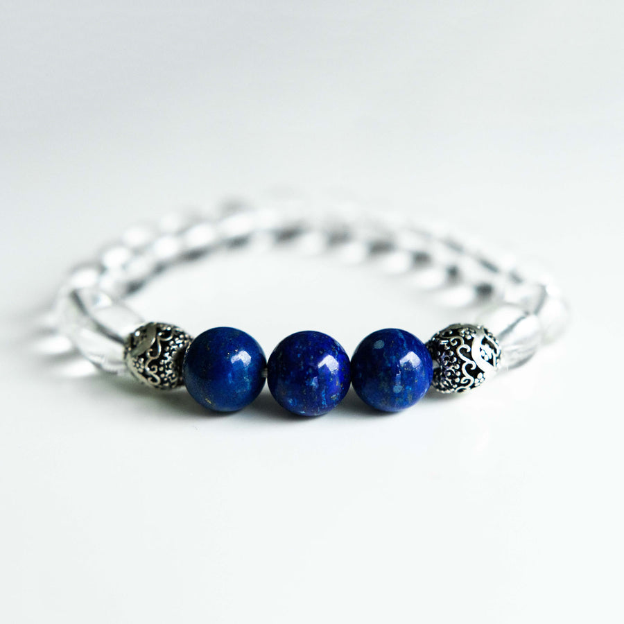 clear quartz and lapis healing gemstones bracelet