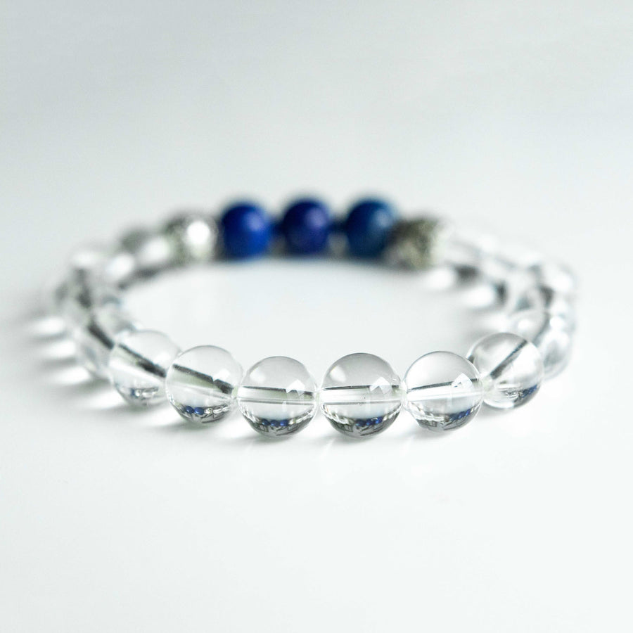 clear quartz and lapis healing gemstones bracelet back view