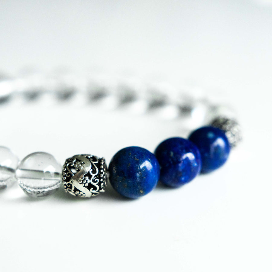 clear quartz and lapis healing gemstones bracelet side view