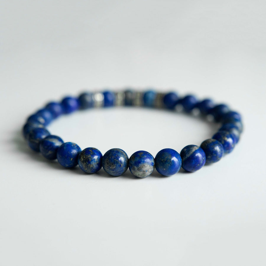 gold flecked lapis healing gemstones bracelet back view
