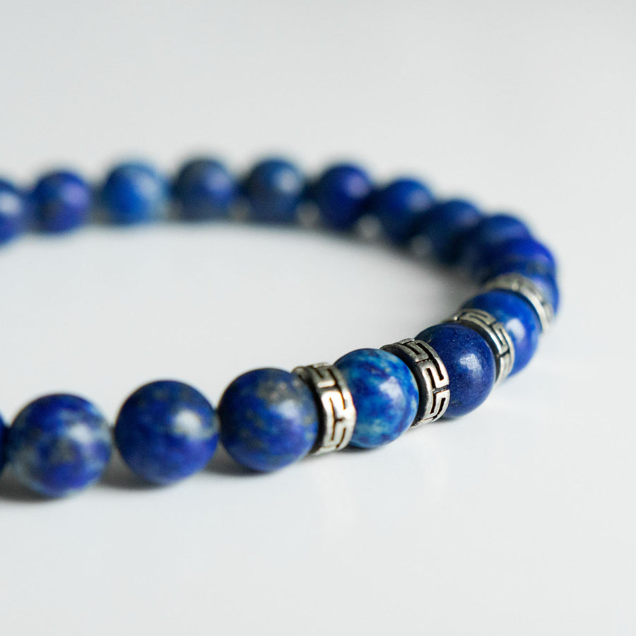 gold flecked lapis healing gemstones bracelet side view
