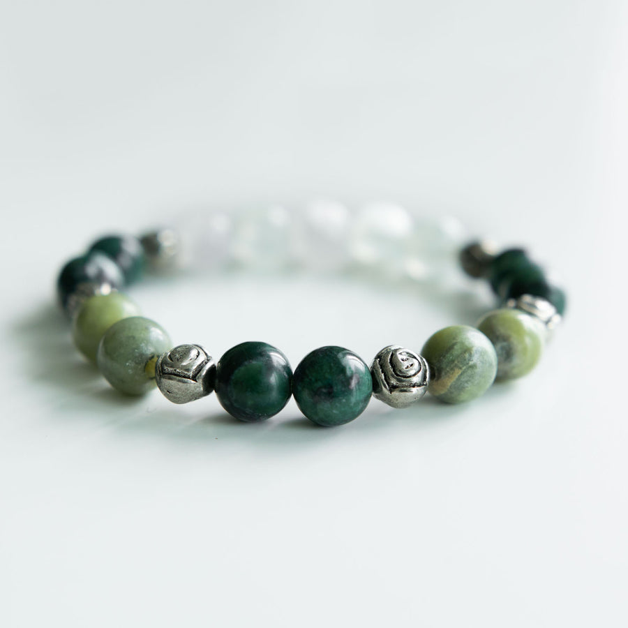 green calcite and serpentine healing gemstones bracelet white