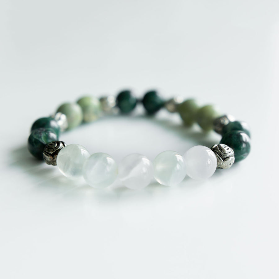 green calcite and serpentine healing gemstones bracelet alternative view