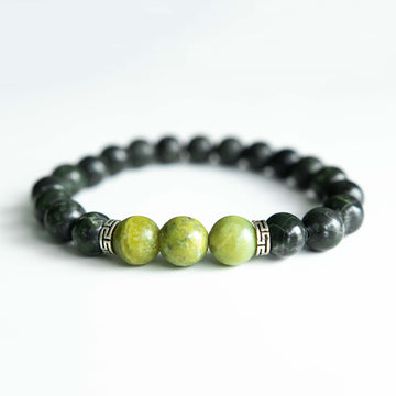 two-toned green serpentine healing gemstones bracelet