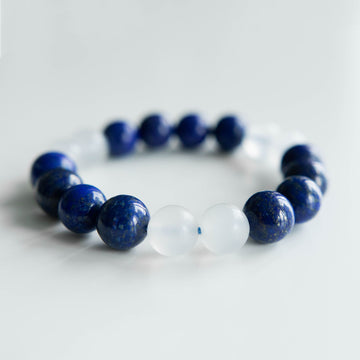lapis and cryptocrystalline quartz healing gemstones bracelet