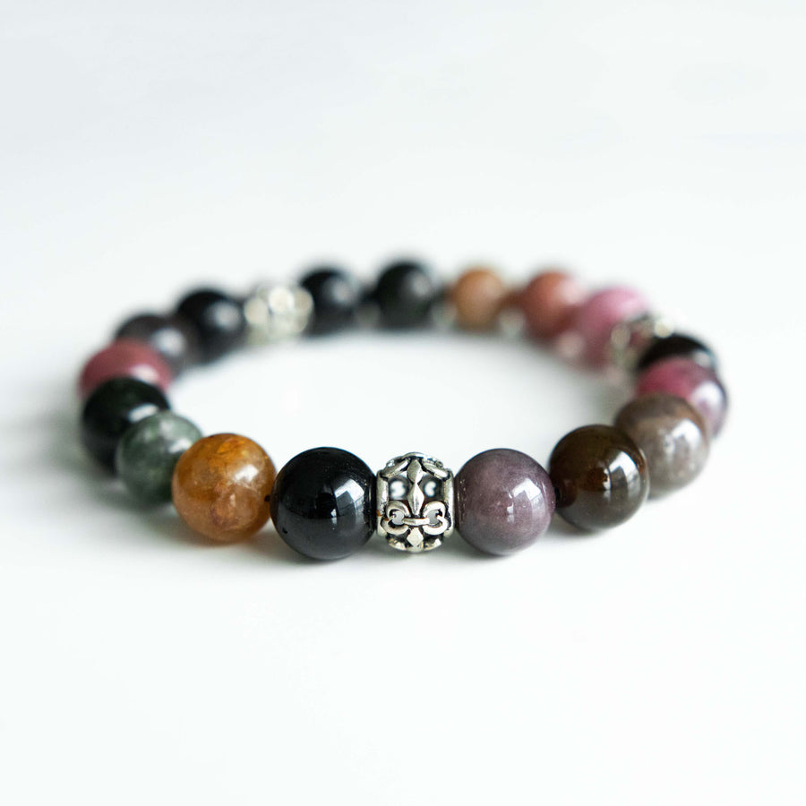 mixed tourmaline healing gemstones bracelet back view