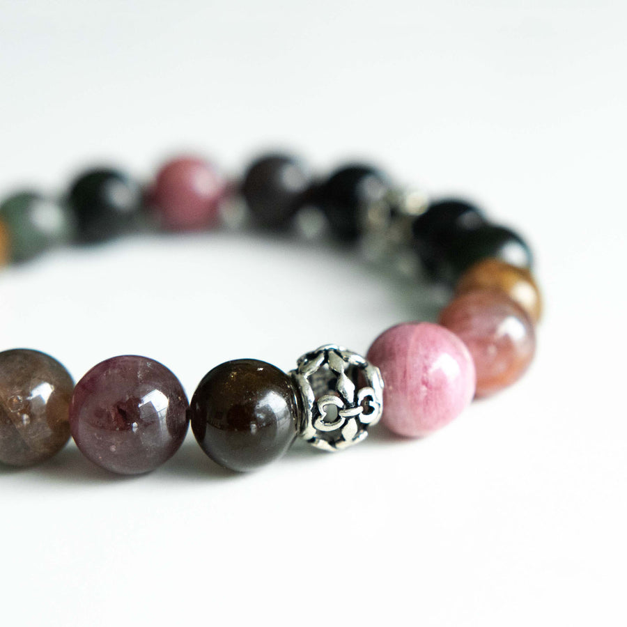 mixed tourmaline healing gemstones bracelet side view