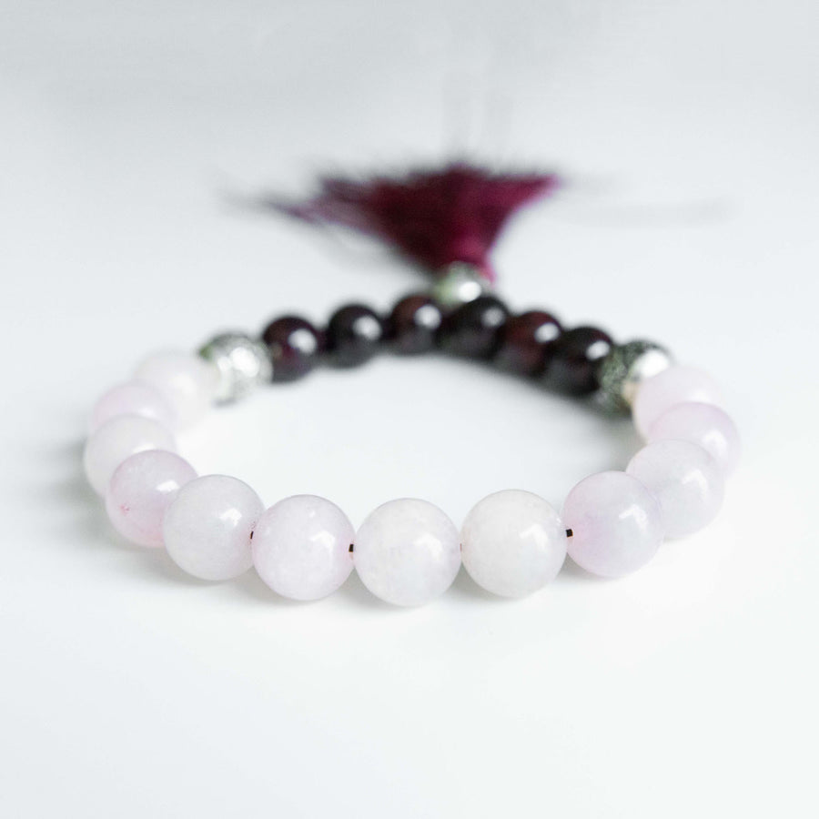 Rose Quartz and Garnet Tassel Bracelet