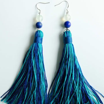 Blue Lapis and Feldspar Tassel Earrings