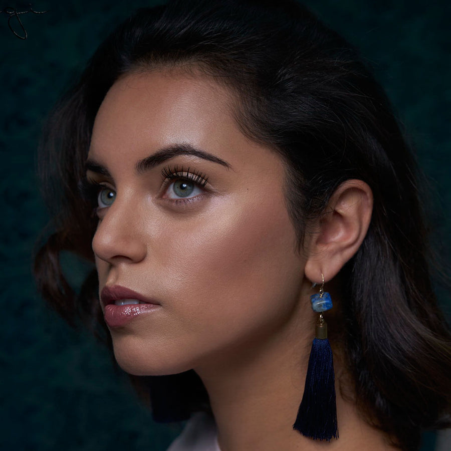 Blue Lapis Tassel Earrings