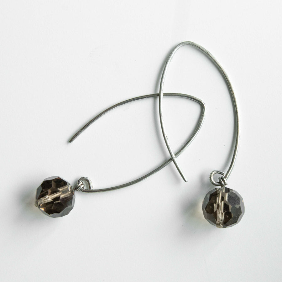 radiant smoky quartz healing gemstones drop earrings side view