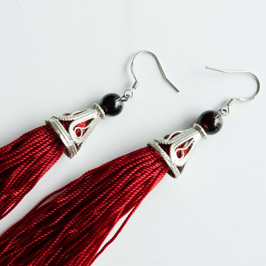 Red Garnet Tassel Earrings