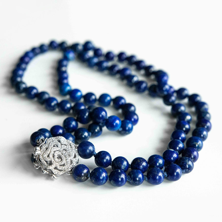royal moonlight double-strand lapis healing gemstones necklace