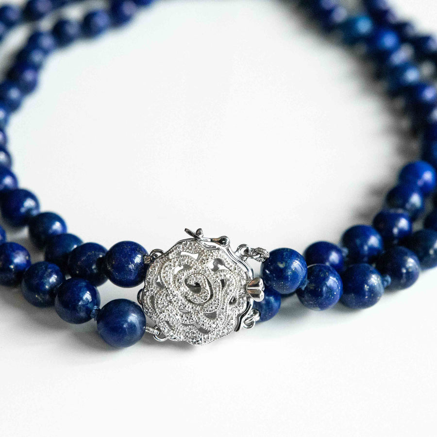 royal moonlight double-strand lapis healing gemstones necklace up close