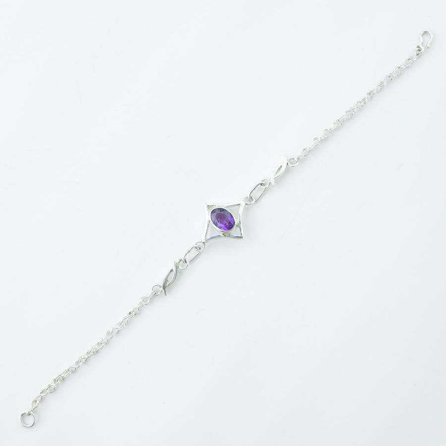 north star amethyst healing gemstone bracelet top view