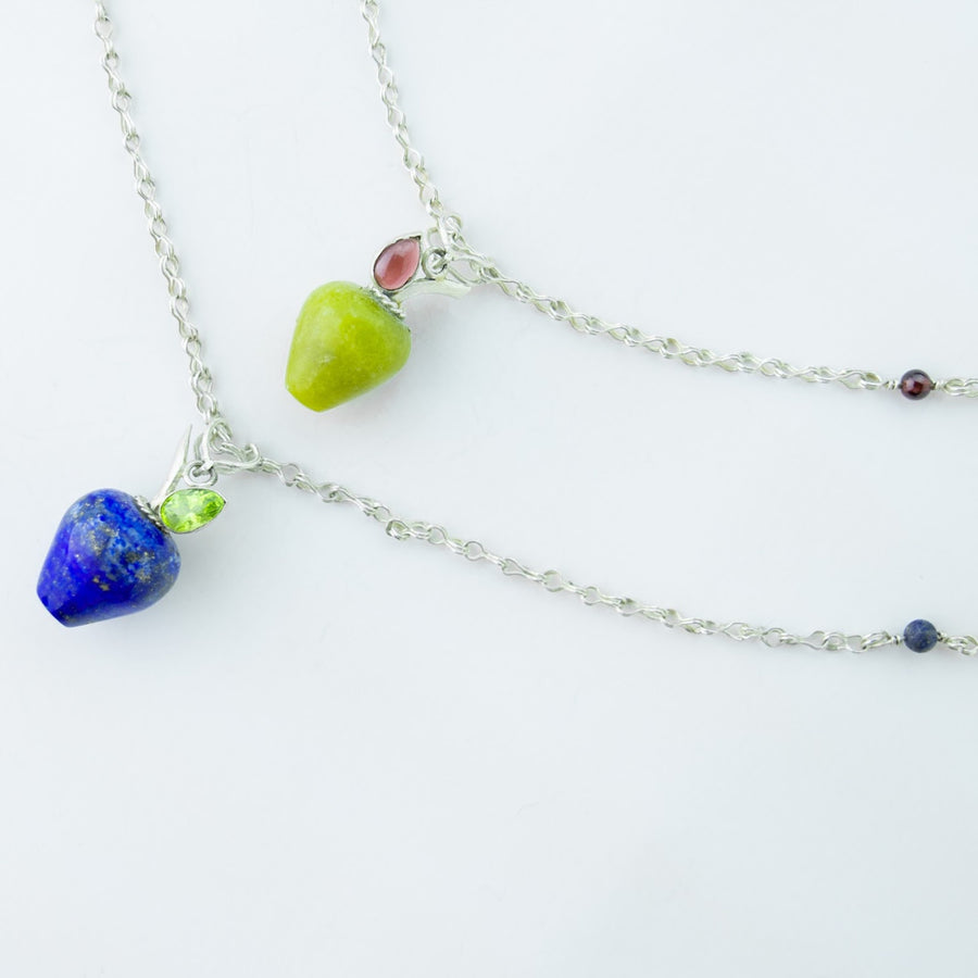 holiday harvest serpentine healing gemstones apple pendant with lapis pendant
