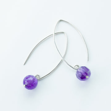 radiant amethyst healing gemstones drop earrings