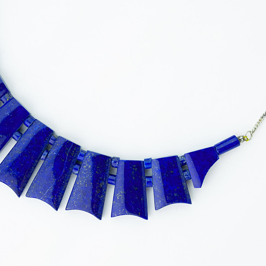 midnight sky lapis healing gemstones necklace side view