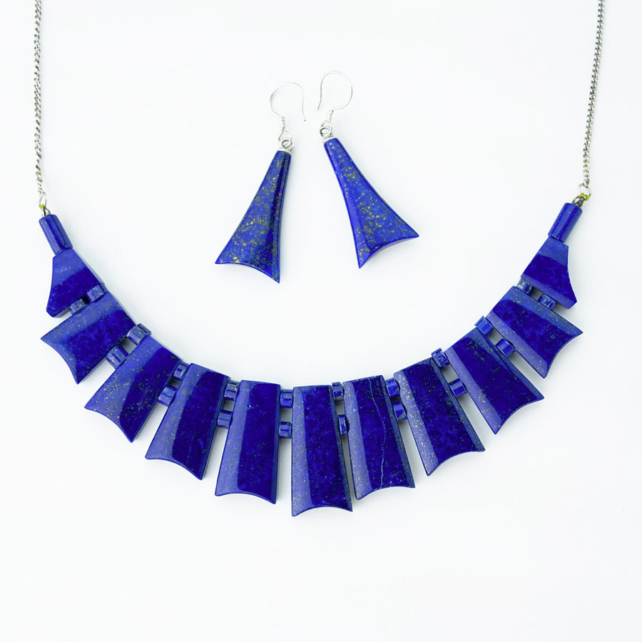 midnight sky lapis healing gemstones necklace and earrings