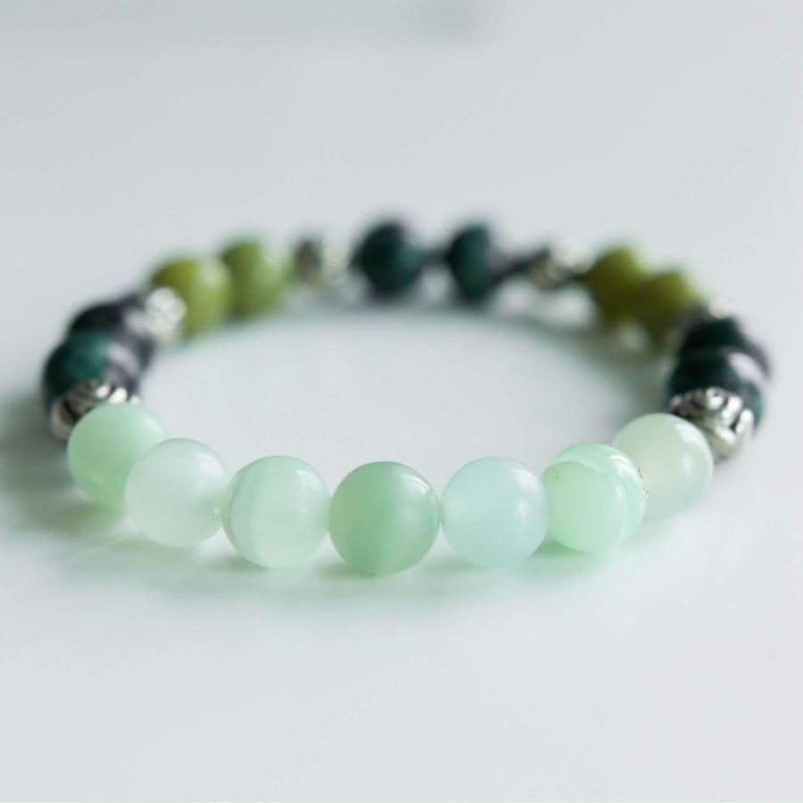 green calcite and serpentine healing gemstones bracelet green