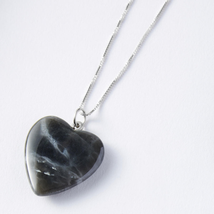 Healing Hearts Black Obsidian and White Onyx Pendants