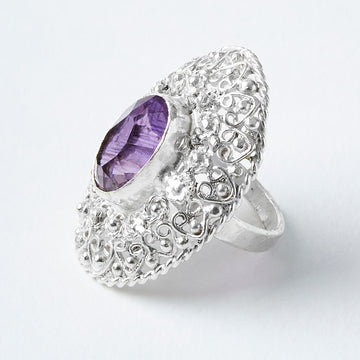 spirit of peace amethyst filigree healing gemstone ring side view