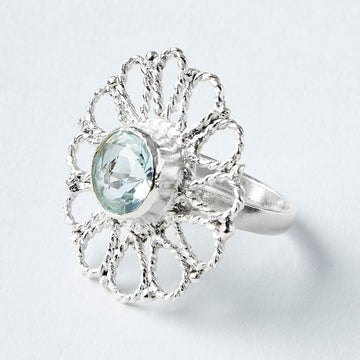 daisy aquamarine healing gemstone ring side view