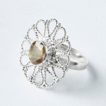 daisy yellow topaz healing gemstone ring
