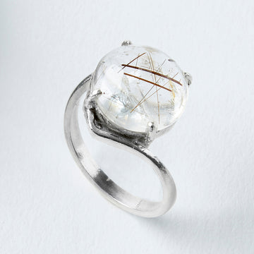grounded in healing rutile quartz healing gemstone ring