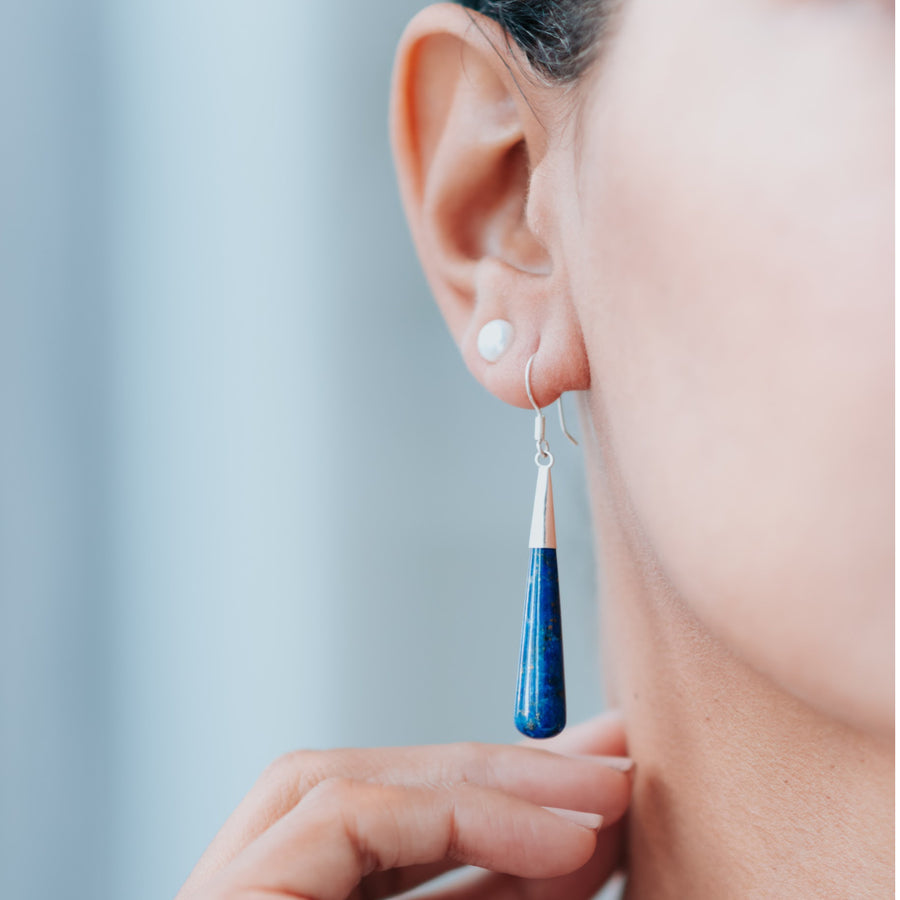 Moonlit Lapis Drop Earrings (Long)