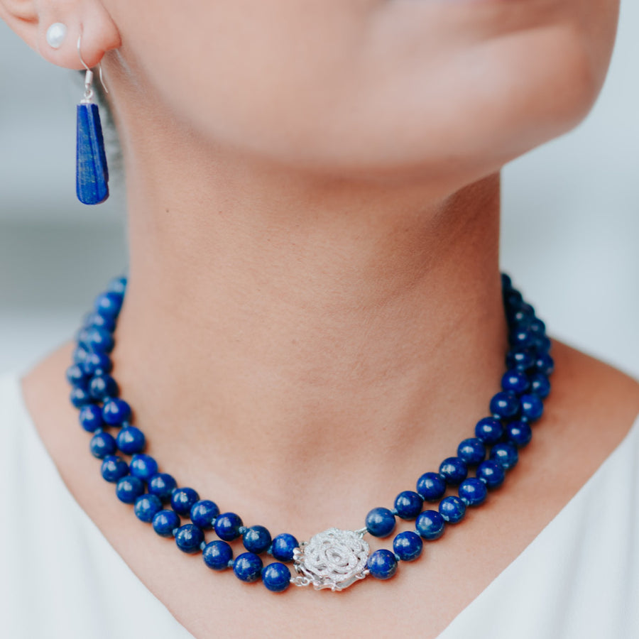 royal moonlight double-strand lapis healing gemstones necklace on neck